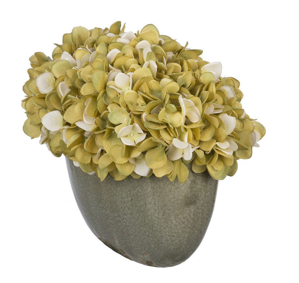 Artificial Hydrangea in Grey Crackle Vase - House of Silk Flowers®  - 14