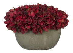 Artificial Hydrangea in Grey Crackle Vase - House of Silk Flowers®  - 3