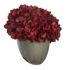 Artificial Hydrangea in Grey Crackle Vase - House of Silk Flowers®  - 4