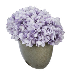 Artificial Hydrangea in Grey Crackle Vase - House of Silk Flowers®  - 22