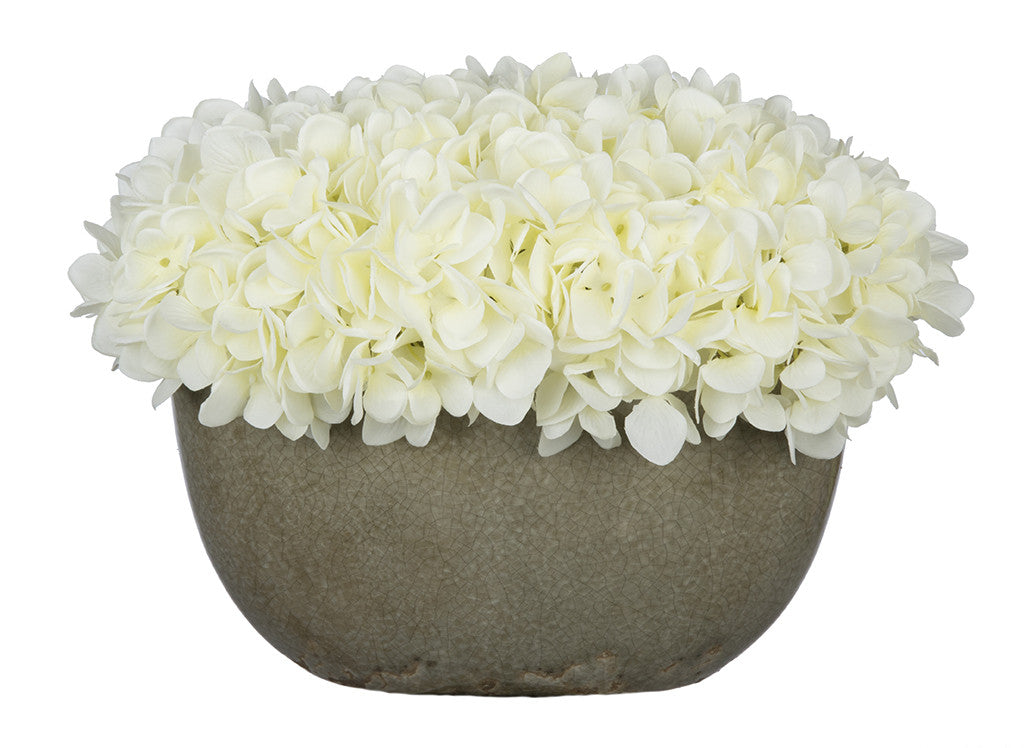 Artificial Hydrangea in Grey Crackle Vase - House of Silk Flowers®  - 1