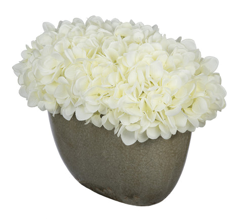 Artificial Hydrangea in Grey Crackle Vase