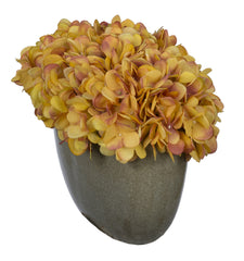 Artificial Hydrangea in Grey Crackle Vase - House of Silk Flowers®  - 24