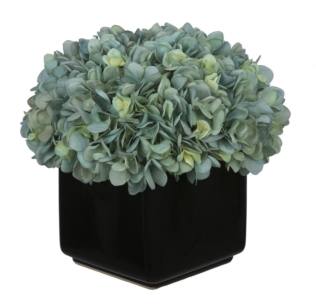 Artificial Hydrangea in Large Black Cube Ceramic - House of Silk Flowers®  - 5