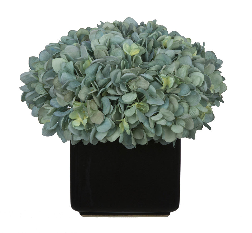 Artificial Hydrangea in Large Black Cube Ceramic - House of Silk Flowers®  - 6