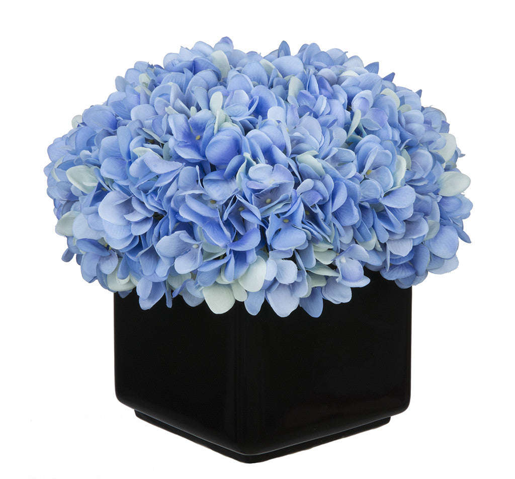 Artificial Hydrangea in Large Black Cube Ceramic - House of Silk Flowers®  - 7