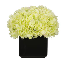 Artificial Hydrangea in Large Black Cube Ceramic - House of Silk Flowers®  - 10