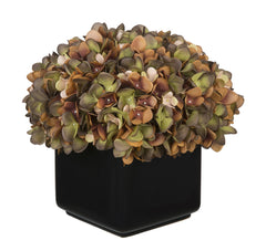 Artificial Hydrangea in Large Black Cube Ceramic - House of Silk Flowers®  - 11