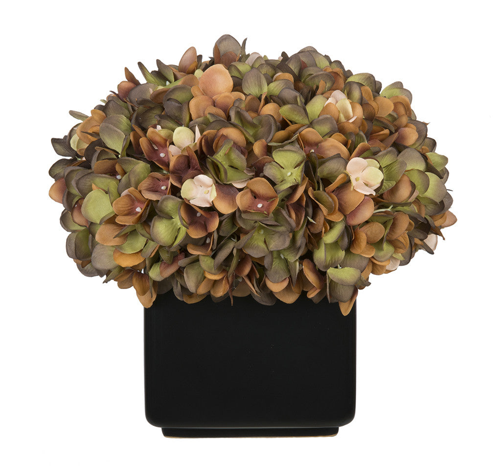 Artificial Hydrangea in Large Black Cube Ceramic - House of Silk Flowers®  - 12