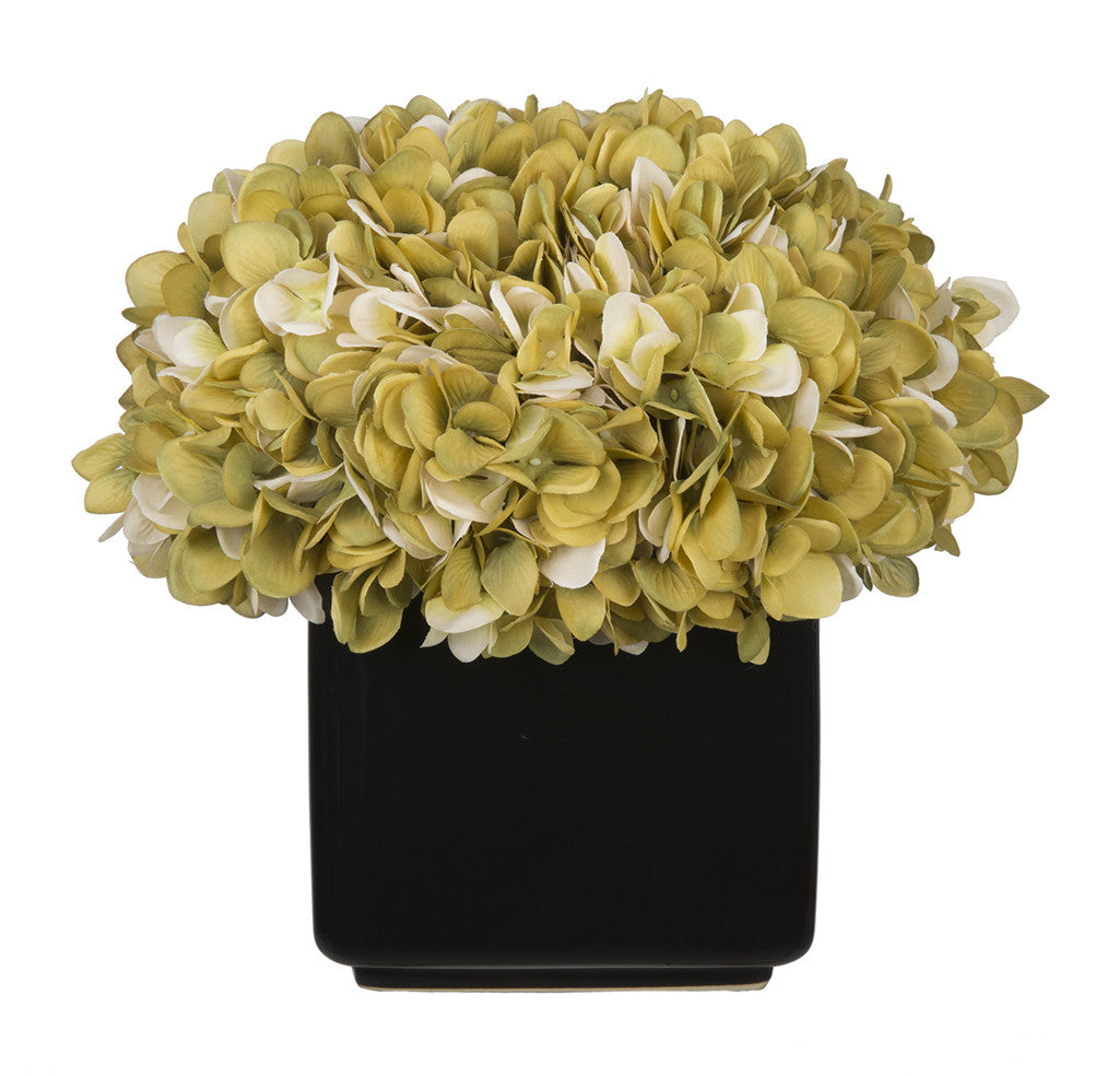 Artificial Hydrangea in Large Black Cube Ceramic - House of Silk Flowers®  - 14