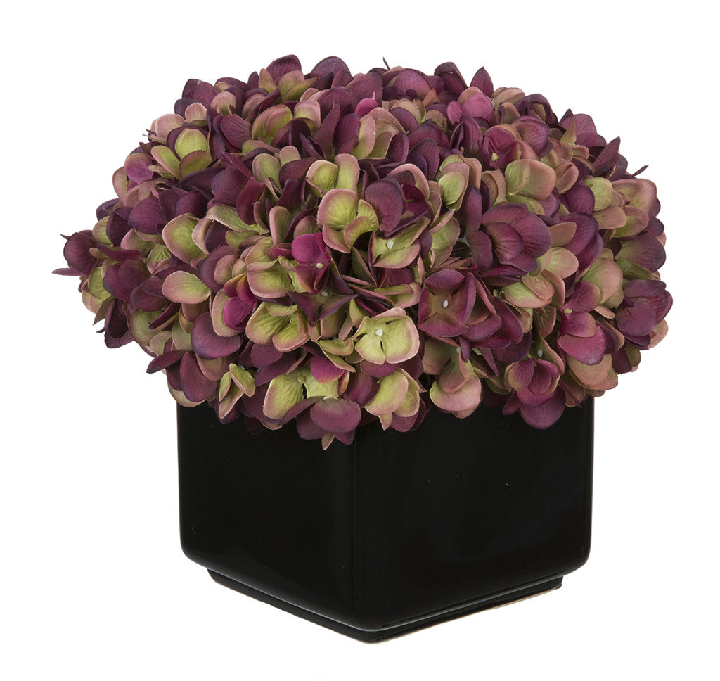 Artificial Hydrangea in Large Black Cube Ceramic - House of Silk Flowers®  - 15
