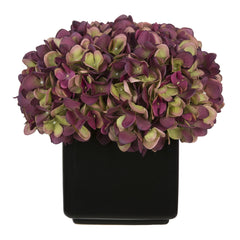 Artificial Hydrangea in Large Black Cube Ceramic - House of Silk Flowers®  - 16
