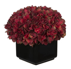 Artificial Hydrangea in Large Black Cube Ceramic - House of Silk Flowers®  - 3