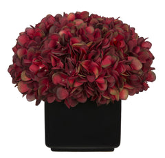 Artificial Hydrangea in Large Black Cube Ceramic - House of Silk Flowers®  - 4