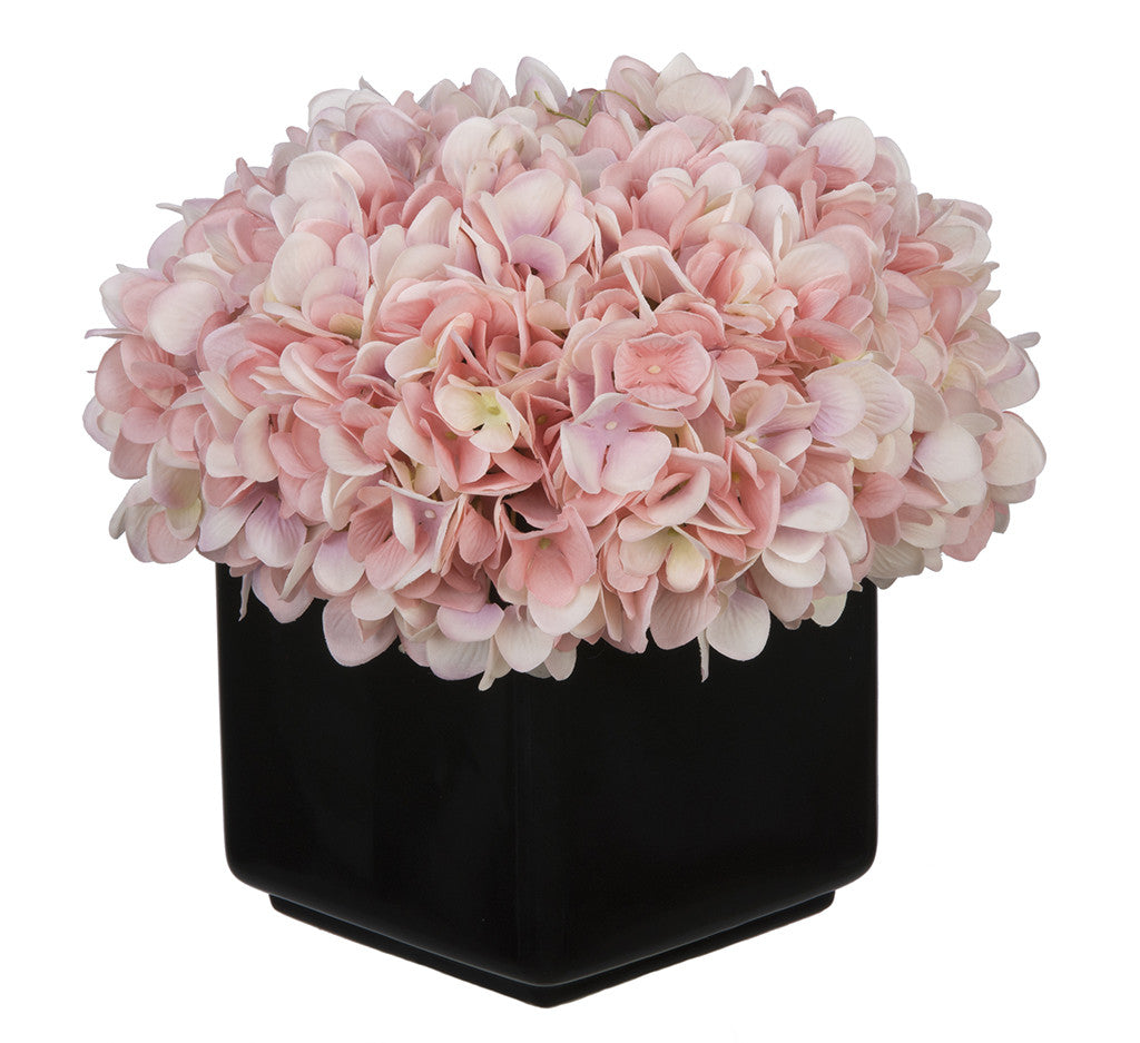 Artificial Hydrangea in Large Black Cube Ceramic - House of Silk Flowers®  - 17