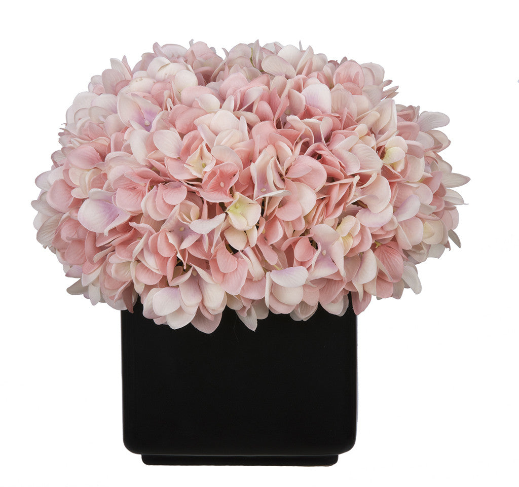 Artificial Hydrangea in Large Black Cube Ceramic - House of Silk Flowers®  - 18