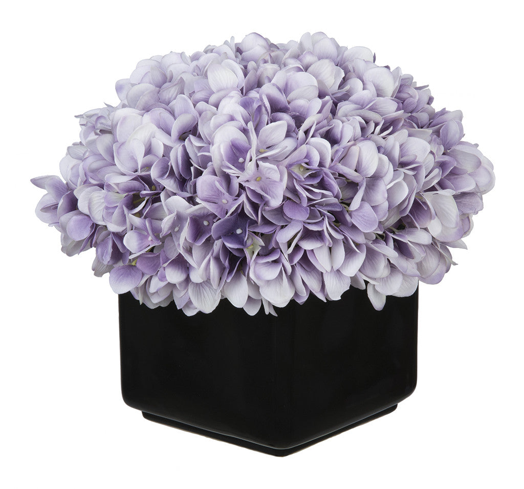Artificial Hydrangea in Large Black Cube Ceramic - House of Silk Flowers®  - 19