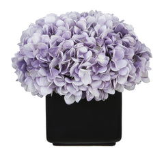 Artificial Hydrangea in Large Black Cube Ceramic - House of Silk Flowers®  - 20