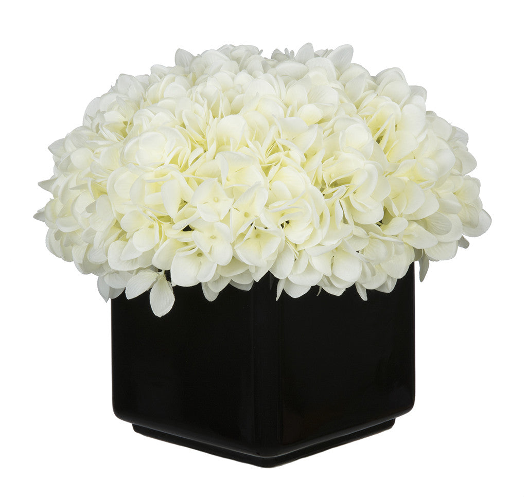 Artificial Hydrangea in Large Black Cube Ceramic - House of Silk Flowers®  - 21