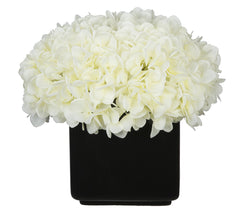 Artificial Hydrangea in Large Black Cube Ceramic - House of Silk Flowers®  - 22