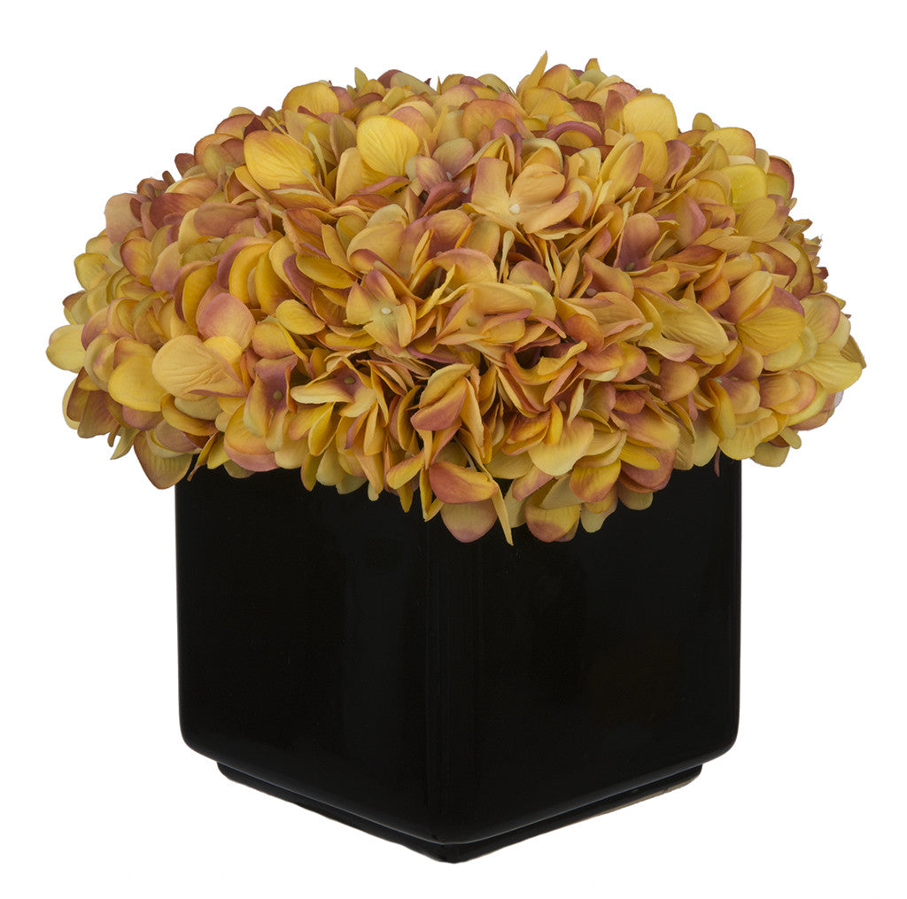 Artificial Hydrangea in Large Black Cube Ceramic - House of Silk Flowers®  - 23