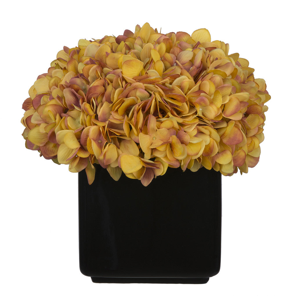 Artificial Hydrangea in Large Black Cube Ceramic - House of Silk Flowers®  - 24
