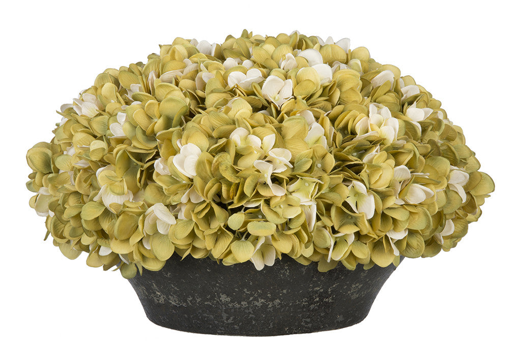 Artificial Hydrangea in Stone-Look Bowl - House of Silk Flowers®  - 6
