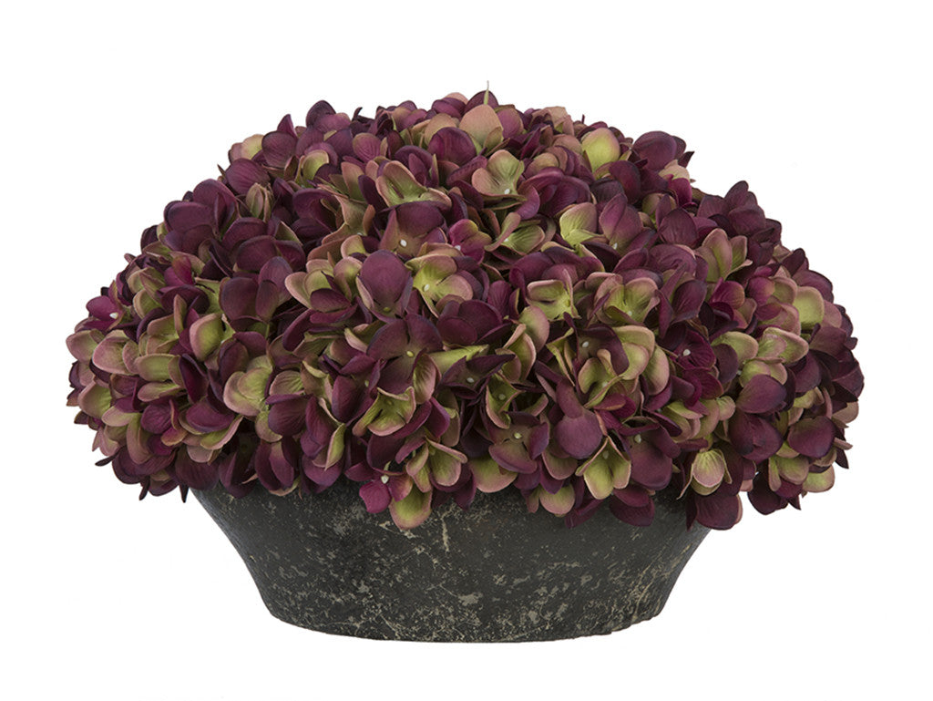 Artificial Hydrangea in Stone-Look Bowl - House of Silk Flowers®  - 7