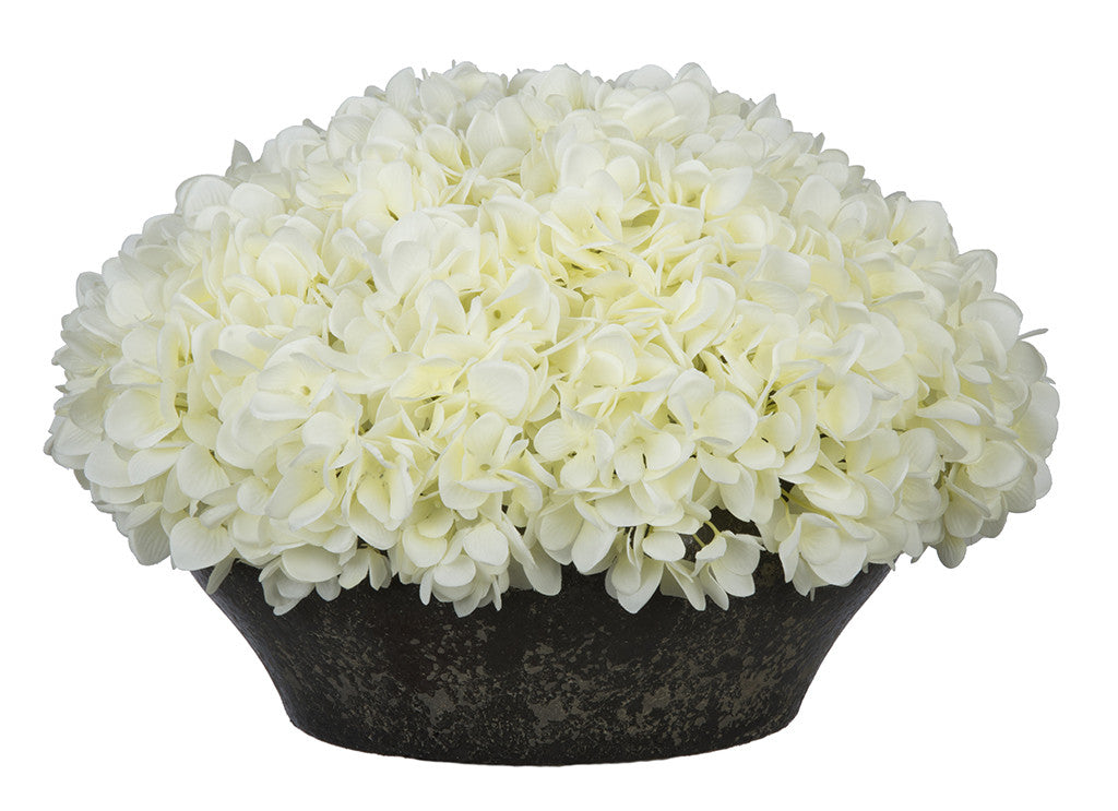 Artificial Hydrangea in Stone-Look Bowl - House of Silk Flowers®  - 11