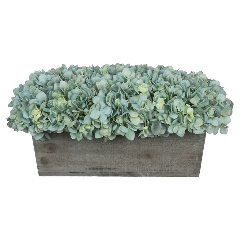 Artificial Teal Hydrangea in Grey-Washed Wood Ledge