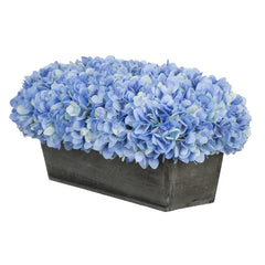 Artificial Blue Hydrangea in Grey-Washed Wood Ledge