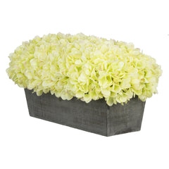 Artificial Green Hydrangea in Grey-Washed Wood Ledge