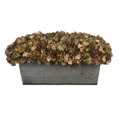 Artificial Coffee Hydrangea in Grey-Washed Wood Ledge