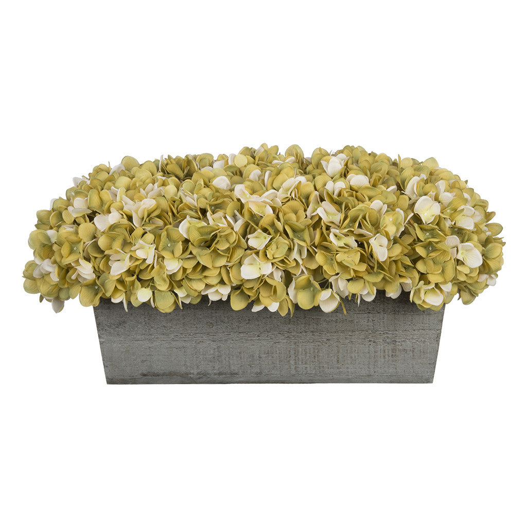 Artificial Sage Hydrangea in Grey-Washed Wood Ledge