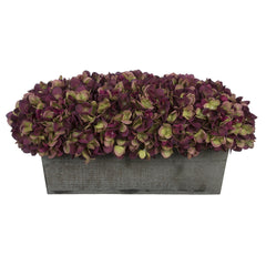 Artificial Plum Hydrangea in Grey-Washed Wood Ledge
