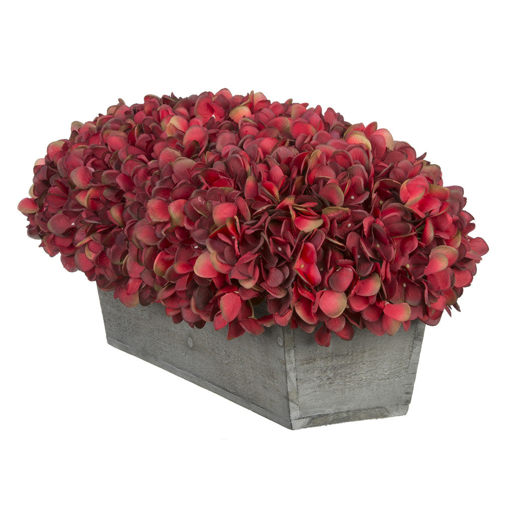 Artificial Burgundy Hydrangea in Grey-Washed Wood Ledge
