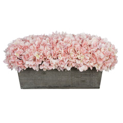 Artificial Pink Hydrangea in Grey-Washed Wood Ledge