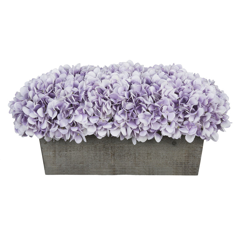 Artificial Lavender Hydrangea in Grey-Washed Wood Ledge