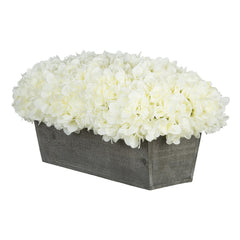 Artificial White Hydrangea in Grey-Washed Wood Ledge
