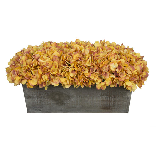 Artificial Gold Hydrangea in Grey-Washed Wood Ledge