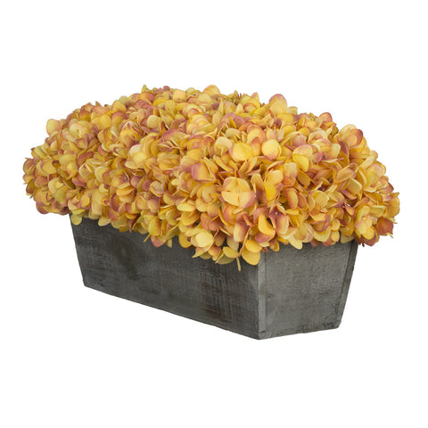 Artificial Hydrangea in Grey-Washed Wood Ledge