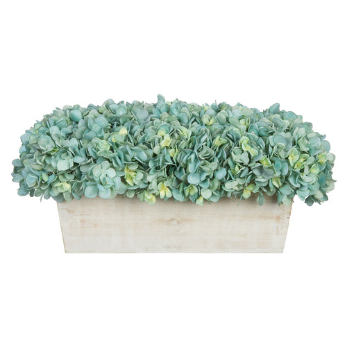 Artificial Hydrangea in White-Washed Wood Ledge teal