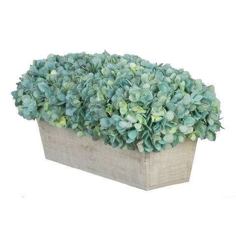 Artificial Hydrangea in White-Washed Wood Ledge - House of Silk Flowers®  - 6