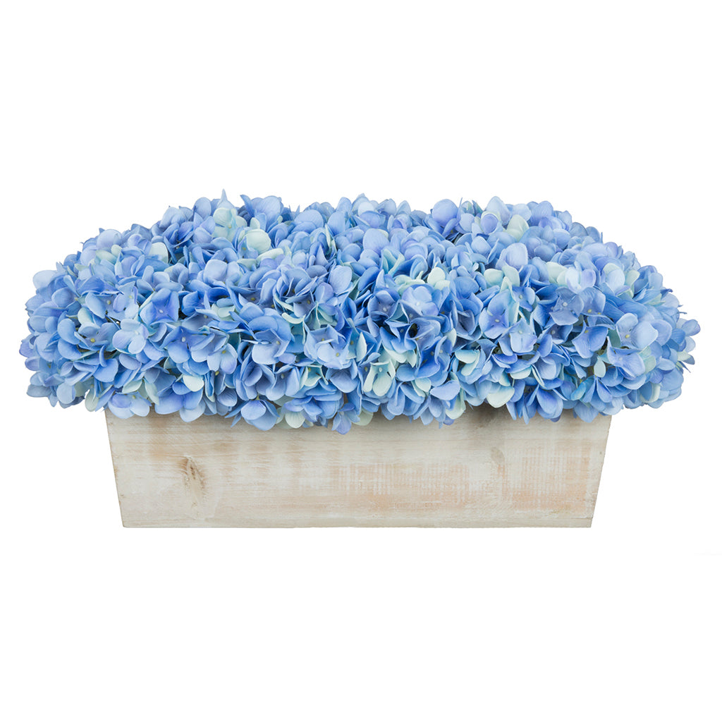 Artificial Hydrangea in White-Washed Wood Ledge - House of Silk Flowers®  - 7