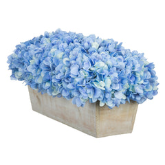 Artificial Hydrangea in White-Washed Wood Ledge - House of Silk Flowers®  - 8