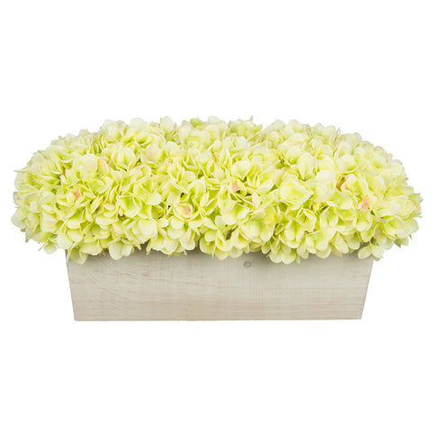 Artificial Hydrangea in White-Washed Wood Ledge