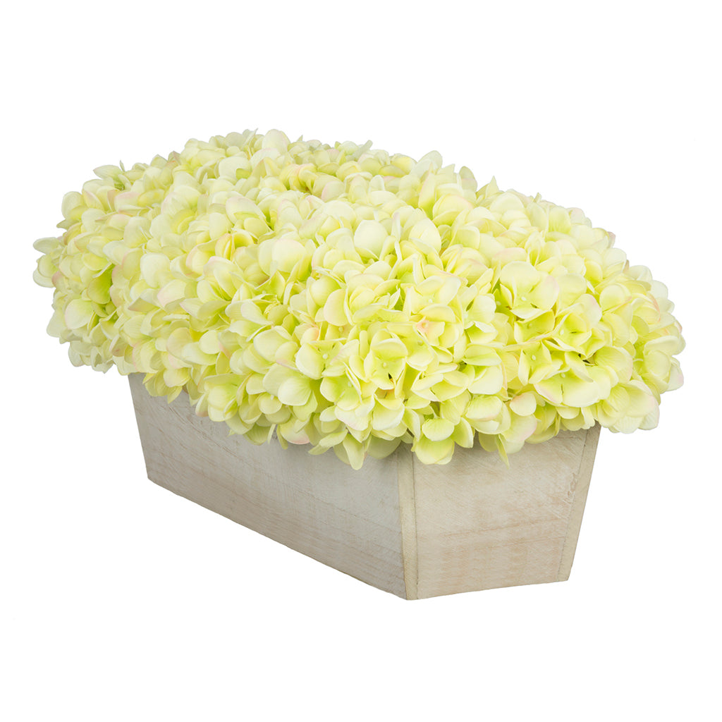 Artificial Hydrangea in White-Washed Wood Ledge - House of Silk Flowers®  - 10