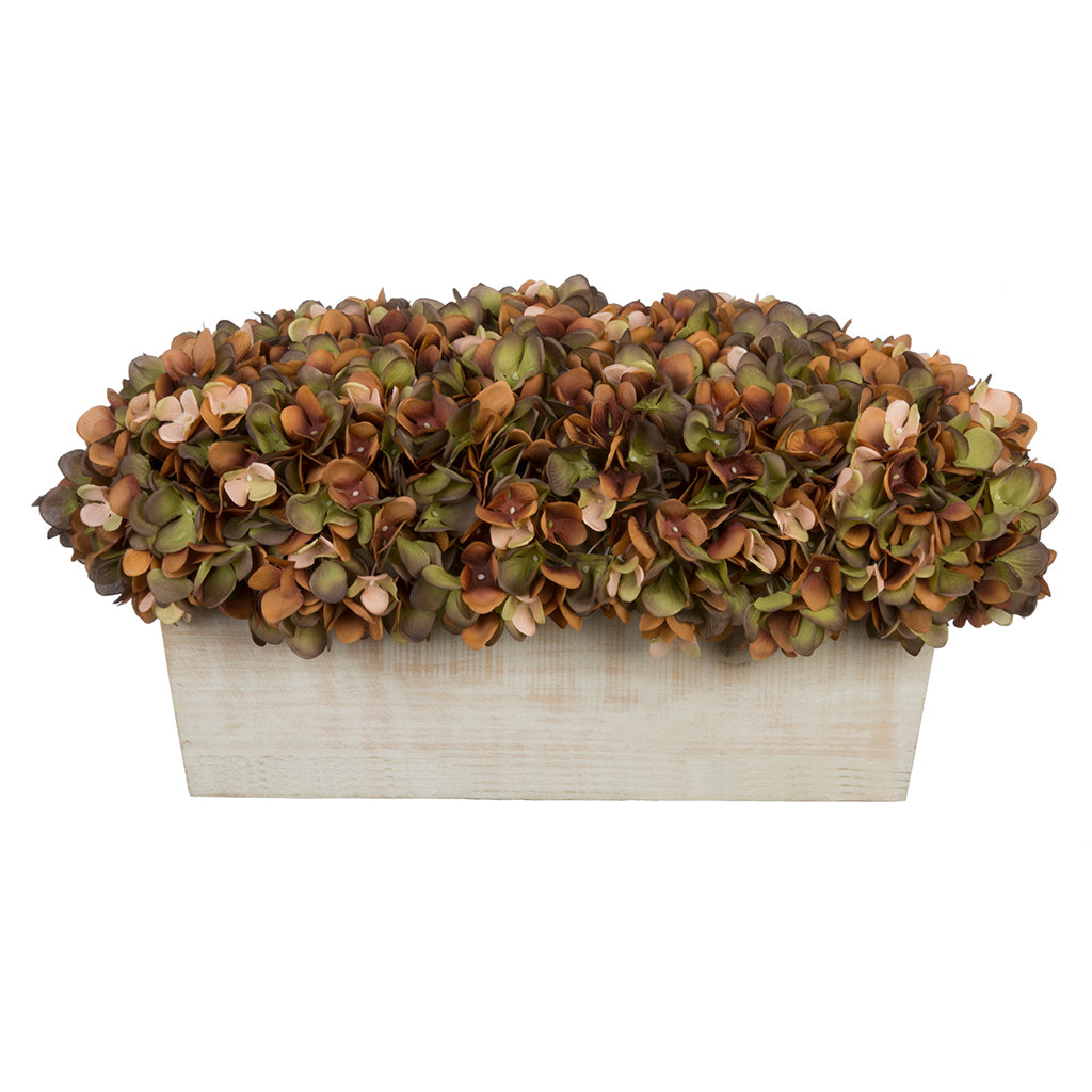 Artificial Hydrangea in White-Washed Wood Ledge - House of Silk Flowers®  - 11