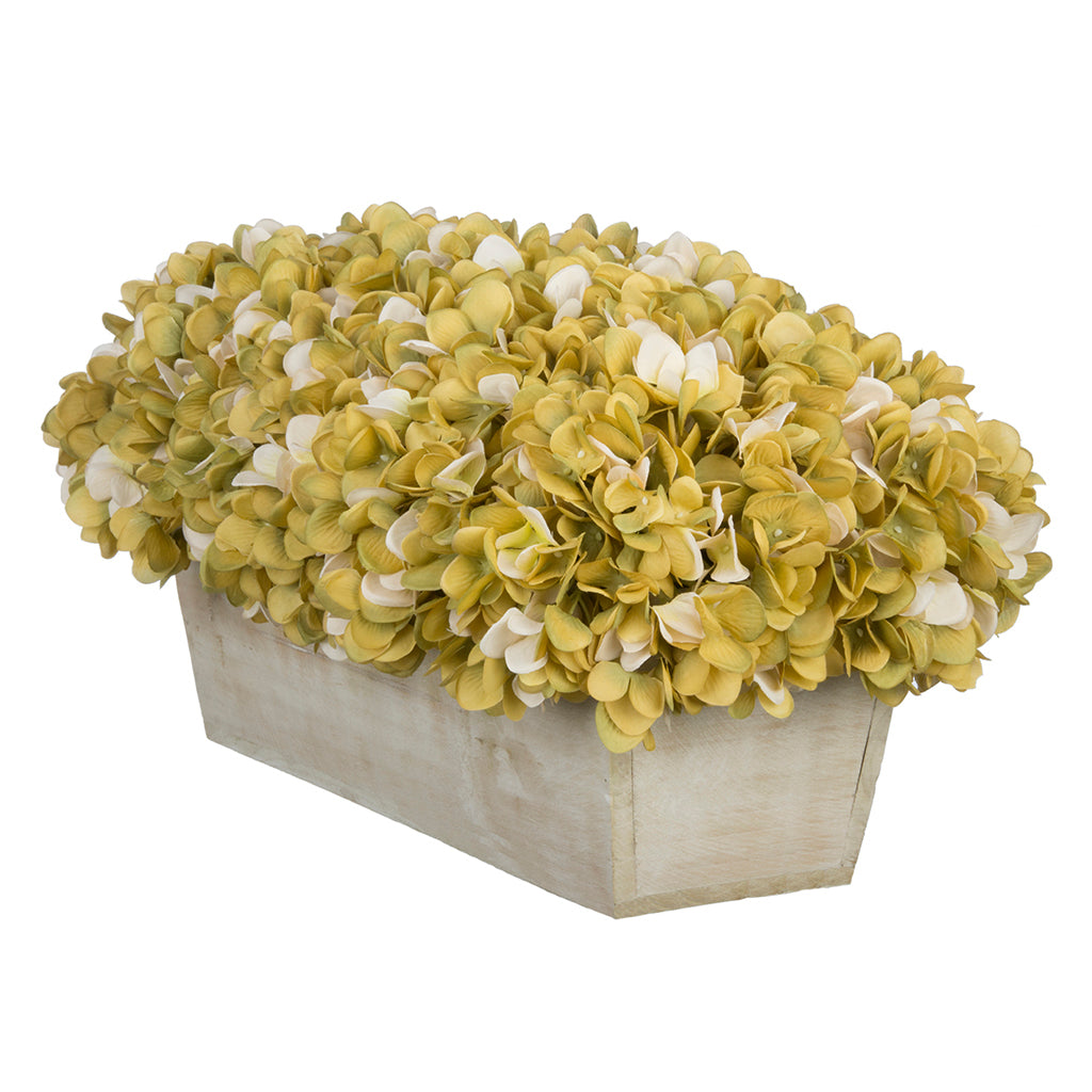 Artificial Hydrangea in White-Washed Wood Ledge - House of Silk Flowers®  - 14