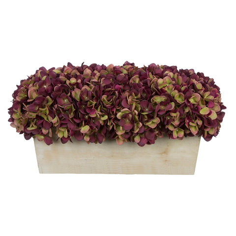 Artificial Hydrangea in White-Washed Wood Ledge - House of Silk Flowers®  - 15
